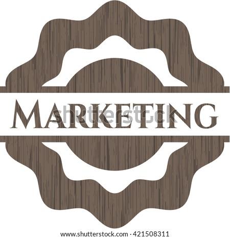 Marketing retro style wooden emblem