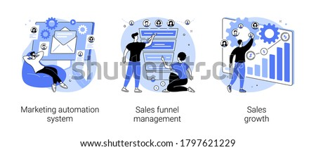 Marketing software abstract concept vector illustration set. Marketing automation system, sales funnel management, sales growth, crm system, lead conversion, client database abstract metaphor.