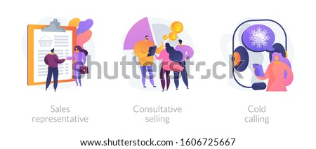 Marketing strategies. Sales promotion activities, customer support and advertising. Sales representative, consultative selling, cold calling metaphors. Vector isolated concept metaphor illustrations. Foto stock ©