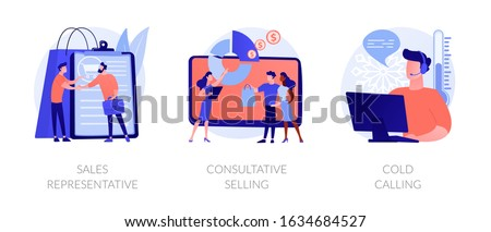 Marketing strategies. Sales promotion activities, customer support and advertising. Sales representative, consultative selling, cold calling metaphors. Vector isolated concept metaphor illustrations.