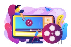 Marketing strategist with laptop working with video content. Video content marketing, video marketing strategy, digital marketing tool concept. Bright vibrant violet vector isolated illustration