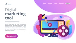Marketing strategist with laptop working with video content. Video content marketing, video marketing strategy, digital marketing tool concept. Website vibrant violet landing web page template.