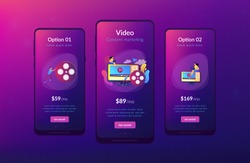 Marketing strategist with laptop working with video content. Video content marketing, video marketing strategy, digital marketing tool concept. Mobile UI UX GUI template, app interface wireframe