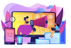Marketing strategists and content specialist with megaphone and digital devices. Digital marketing team, marketing team strategy concept. Bright vibrant violet vector isolated illustration