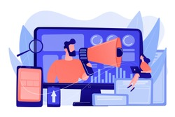 Marketing strategists and content specialist with megaphone and digital devices. Digital marketing team, marketing team strategy concept. Pinkish coral bluevector isolated illustration