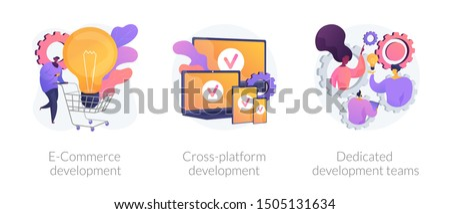 Marketing strategy, adaptive software, professional teamwork. E-Commerce development, cross-platform development, dedicated development teams metaphors. Vector isolated concept metaphor illustrations
