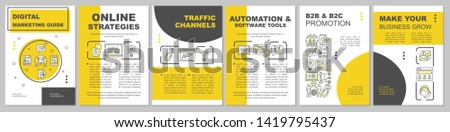 Marketing strategy brochure template layout. Traffic channels. Flyer, booklet, leaflet print design with linear illustrations. Vector page layouts for magazines, annual reports, advertising posters