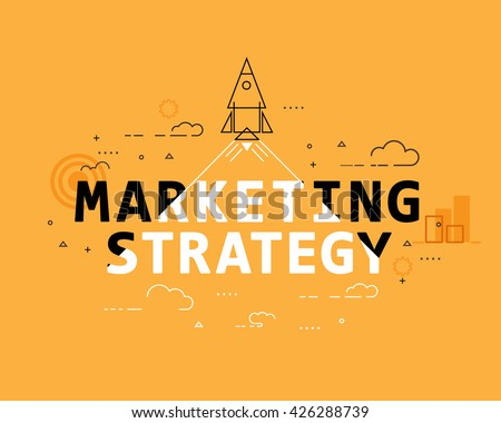 Marketing strategy concept, thin line banner design, flat style