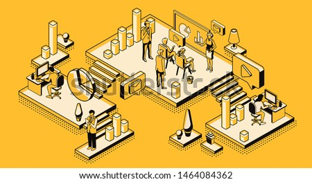 Marketing strategy, financial analytic company, agency working process in office, business people planning, analyzing statistics data, doing presentation, isometric 3d vector illustration, line art