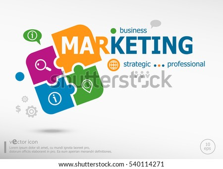 Marketing strategy on colorful jigsaw puzzle. Infographic business for graphic or web design layout