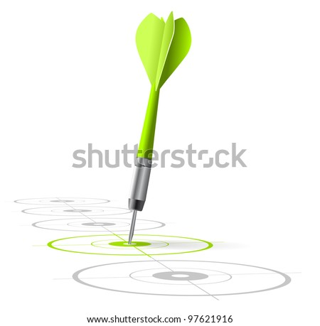 marketing strategy symbol. One green dart hitting the center of a target with many grey other targets in a row. Vector file, white background