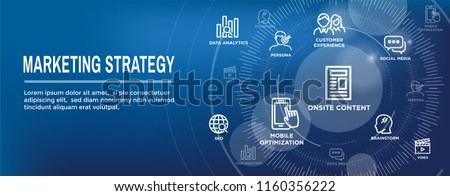 Marketing Strategy Web Header Hero Image Banner with inbound lead generation, chat, & seo ideas