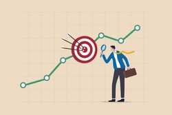 Marketing target audience research, business analysis to increase sale, target group or focused customer concept, businessman marketer holding magnifying glass analyze customer data graph and chart.