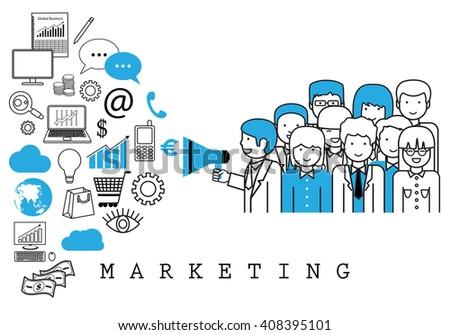Marketing Team-On White Background-Vector Illustration,Graphic Design.