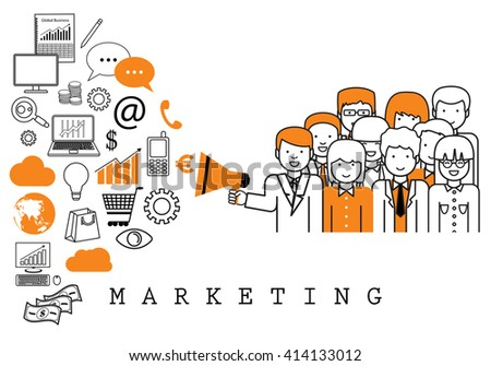Marketing Team-On White Background-Vector Illustration,Graphic Design.Business Concept.