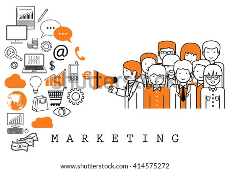 Marketing Team-On White Background-Vector Illustration,Graphic Design.Business Concept
