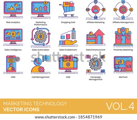 Marketing technology icons including web analytics, performance, shopping cart, affiliate management, sales intelligence, automation, enablement, data enhancement, proximity, CRM, campaign, martech. Stock foto ©