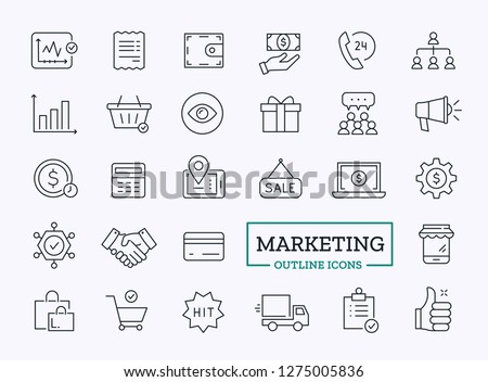 Marketing Thin Line icons. Vector Outline Design Symbols for web.