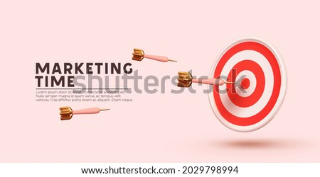 Marketing time concept. Targeting the business. Realistic 3d design red target and arrows. Vector illustration