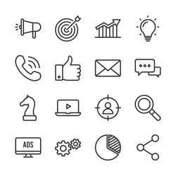 Marketing vector line icons set