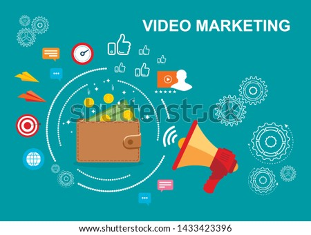 Marketing. Video marketing. Video monetization. Vector illustration