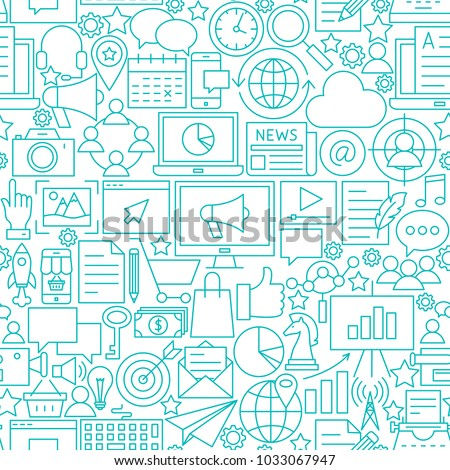 Marketing White Line Seamless Pattern. Vector Illustration of Outline Tileable Background.