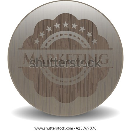 Marketing wooden emblem. Vintage.