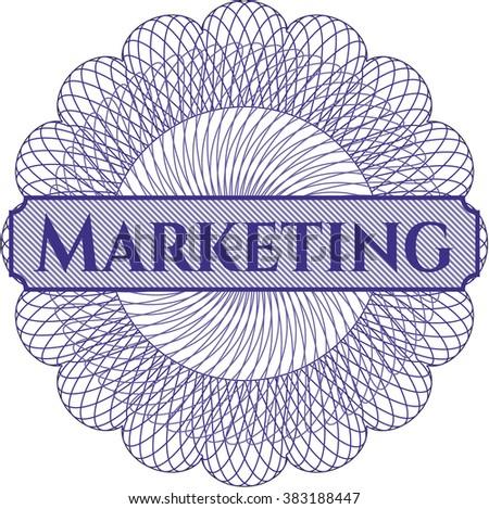 Marketing written inside a money style rosette