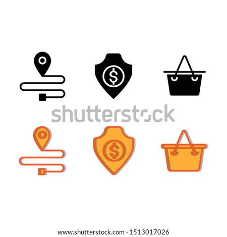 Marketplace icon set include gps, map, location, pin, dollar, shield, secure, protection, basket, buying, trolley, cart