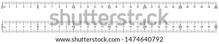 Marking ruler on a white background 30 centimeters. Vector illustration.