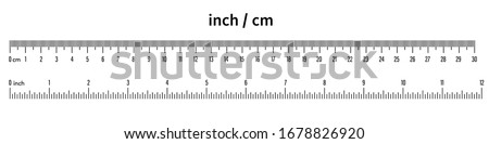 Marking rulers 30 cm, 12 inch.Ruler scale measure.Length measurement scale chart. Ruler 30 centimeter and 12 inch. Black on a white background - stock vector. Foto d'archivio ©