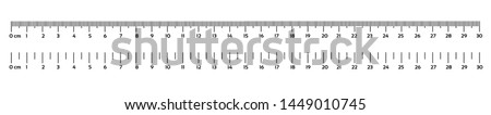 Marking rulers on a white background 30 centimeters