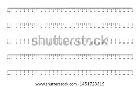 Marking rulers on a white background 30 centimeters various markup options