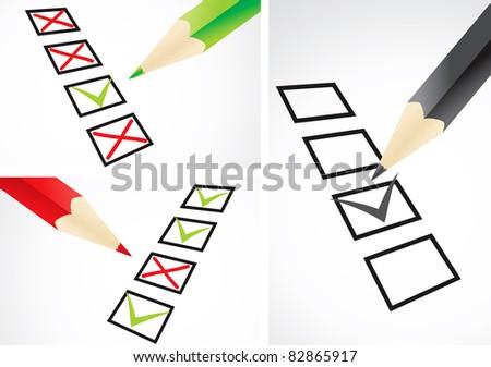 Markings in pencil in a test sheet