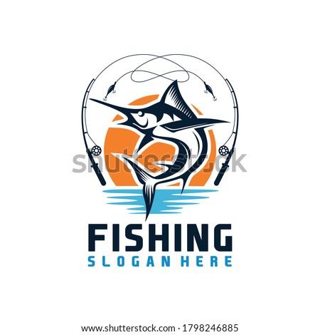 Marlin fish logo.Sword fish fishing emblem for sport club, Fishing Tournament Logo Template, Fishing logo design template illustration . Sport fishing Logo.