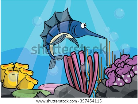 marlin fish underwater scenery