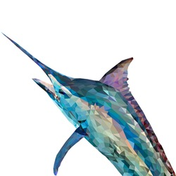 Marlin in low polygon style on white background, vector illustration