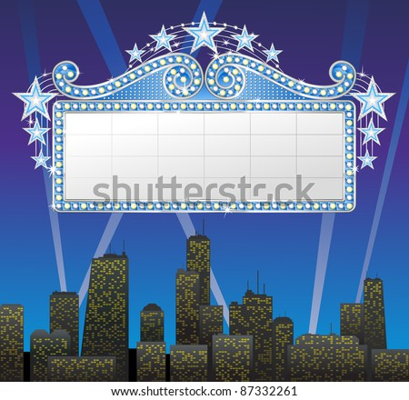 Marquee banner with stars, file is separated on layers.