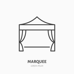 Marquee flat line icon. Folding tent, party equipment sign. Thin linear logo for trade show, event supplies.