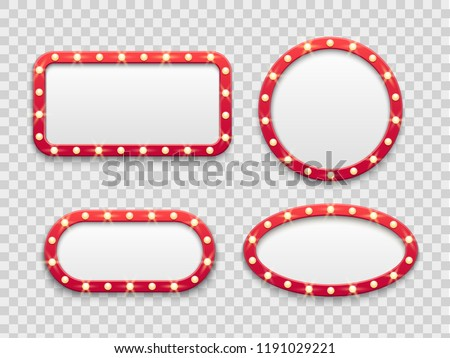 Marquee light frames. Vintage round and rectangular cinema and casino empty red signs bright vegas lights with bulbs. Vector theatre show or nightclub billboard retro isolated icons set