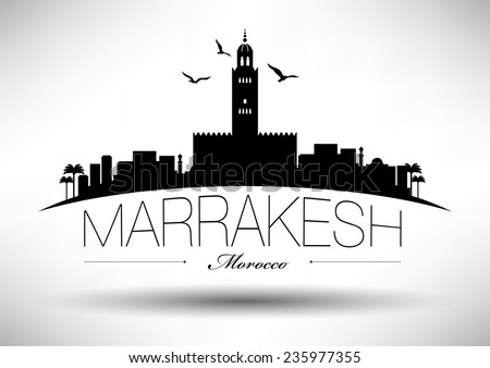 Marrakesh Skyline with Typography Design