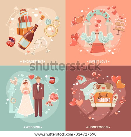 Marriage and engagement bridal party invitation 4 flat icons square  composition card template abstract isolated vector illustration