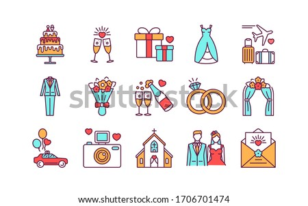 Marriage color line icons set. Wedding agency. Isolated vector element. Outline pictograms for web page, mobile app, promo.