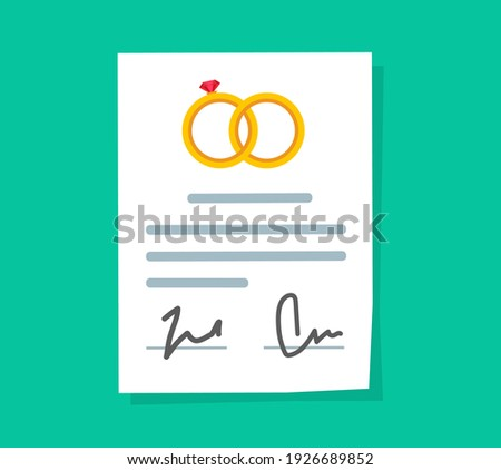 Marriage contract or prenuptial agreement legal document vector flat cartoon icon, prenup wedding certificate with signatures Foto stock ©