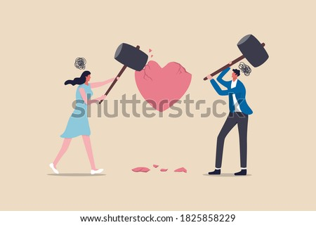 Marriage difficulties problem, divorce or violence or painful in broken relationship couple concept, angry couple husband and wife using big hammer to hit broken heart shape metaphor of family problem Stock photo ©