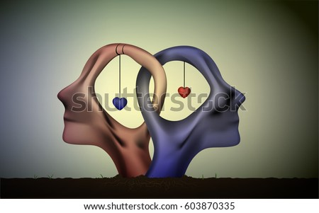 marriage icon, people head in love, blue man and red woman heads in love, surrealistic romantic dream,together forever, couple in love sculpture with hearts inside