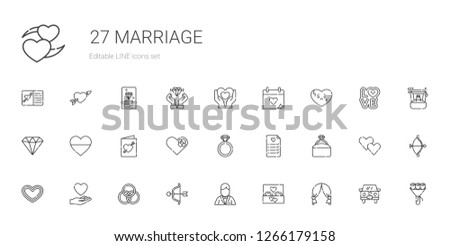 marriage icons set. Collection of marriage with wedding arch, wedding ring, groom, cupid, rings, love, heart, engagement ring, wedding planning. Editable and scalable marriage icons.