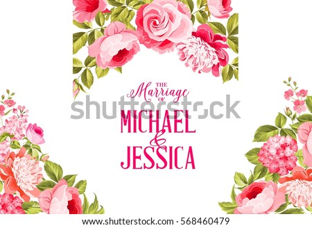 Marriage invitation card. Invitation card template with blooming flowers and custom text isolated over white. Flower garland for invitation card. Vector illustration.