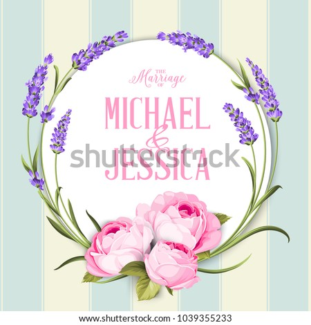 Marriage invitation card with custom sign. #1039355233