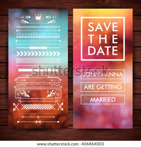 Marriage invitation clip art with various borders, frames and save the date text with placeholders over wooden background